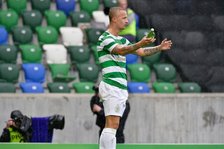 Celtic striker Leigh Griffiths was the target of a thrown Buckfast bottle during a match against Linfield on Friday (Picture: Rex)