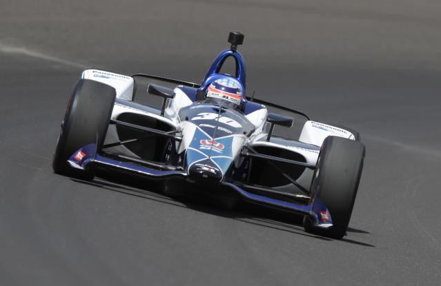 Takuma Sato, of Japan, drives his car during a practice session for the IndyCar Indianapolis 500 auto race at Indianapolis Motor Speedway in Indianapolis, Thursday, May 17, 2018. (AP Photo/Darron Cummings)