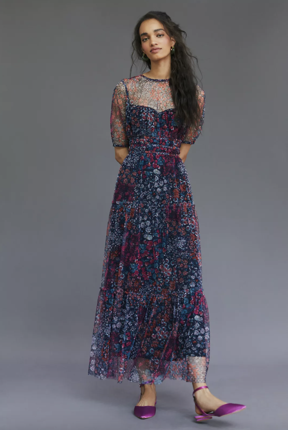Maeve Ruched Floral Maxi Dress (Photo via Anthropologie)