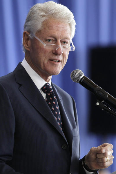 Former President Bill Clinton speaks about the Bosnian War and the roll of intelligence in the conflict at the Clinton Presidential Library in Little Rock, Ark., Tuesday, Oct. 1, 2013. (AP Photo/Danny Johnston)