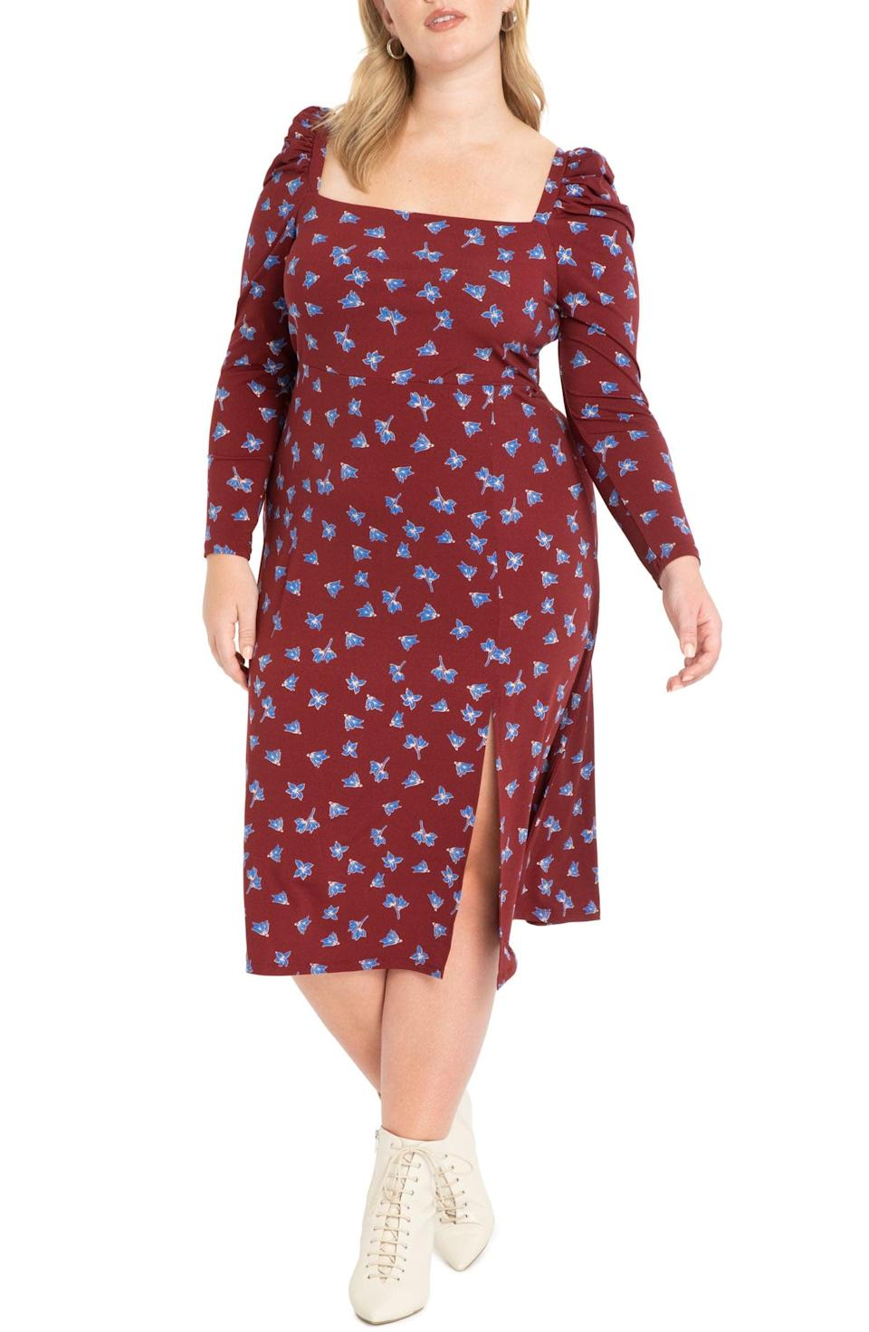 <p>What's there not to like about this <span>ELOQUII Floral Puff Sleeve Midi Dress</span> ($60, originally $100)? The square neckline, the dramatic sleeves and sultry slit are perfect.</p>