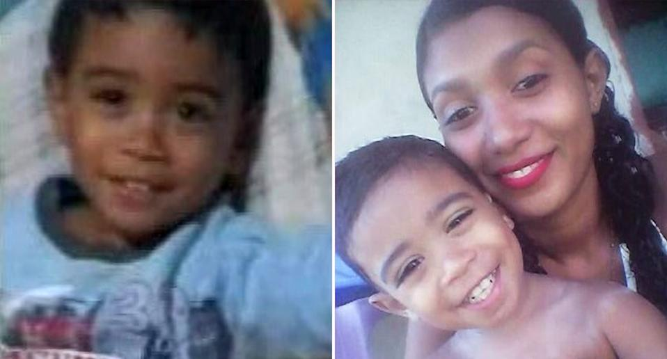 One of the children pictured on his own (left) and with his mum (right)