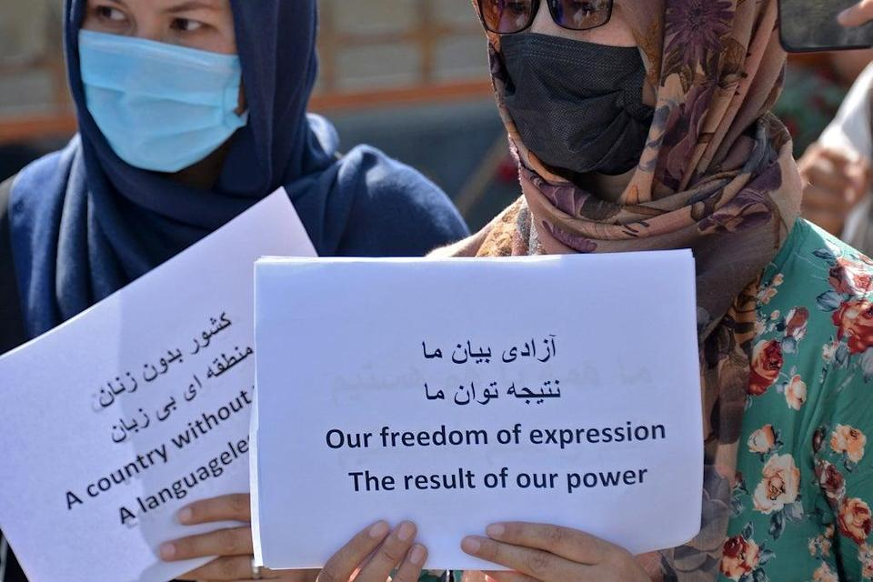 Afghan women take part in a protest march for their rights under the Taliban rule in the downtown area of Kabul on 3 September 2021   (AFP via Getty Images)