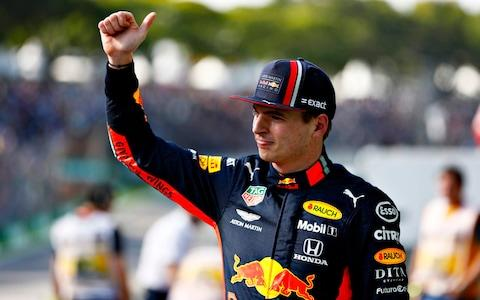 Max Verstappen of Netherlands and Red Bull Racing celebrates in parc ferme during qualifying for the F1 Grand Prix of Brazil at Autodromo Jose Carlos Pace on November 16, 2019 in Sao Paulo, Brazil - Credit: Getty Images