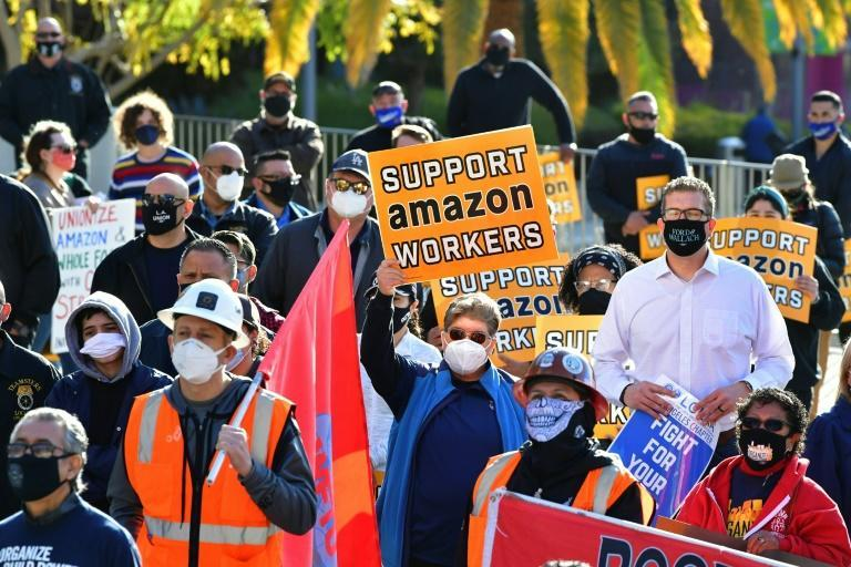 Union leaders are joined by community group representatives, elected officials and social activists for a rally in support of unionization efforts by Amazon workers in the state of Alabama on March 21 in Los Angeles, California