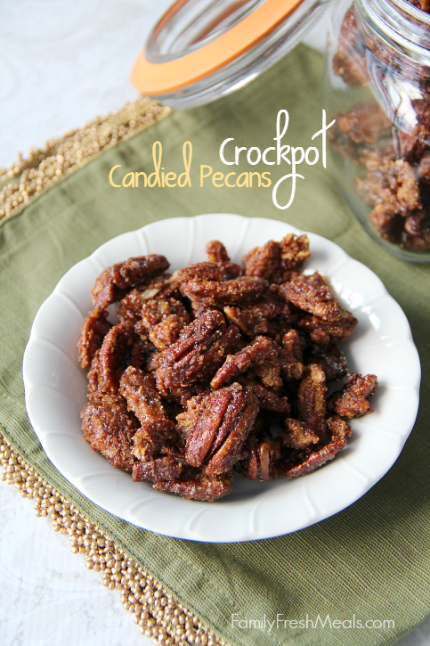 """<p>Cinnamon-sugar coated pecans make the perfect snack mix for watching a movie by the fire.</p><p><strong>Get the recipe at <a href=""""http://www.familyfreshmeals.com/2013/12/crockpot-candied-pecans.html"""" rel=""""nofollow noopener"""" target=""""_blank"""" data-ylk=""""slk:Family Fresh Meals"""" class=""""link rapid-noclick-resp"""">Family Fresh Meals</a>.</strong> </p>"""