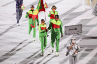 <p>TOKYO, JAPAN - JULY 23: Flag bearers Kimberly Ince and Delron Felix of Team Grenada during the Opening Ceremony of the Tokyo 2020 Olympic Games at Olympic Stadium on July 23, 2021 in Tokyo, Japan. (Photo by Patrick Smith/Getty Images)</p>