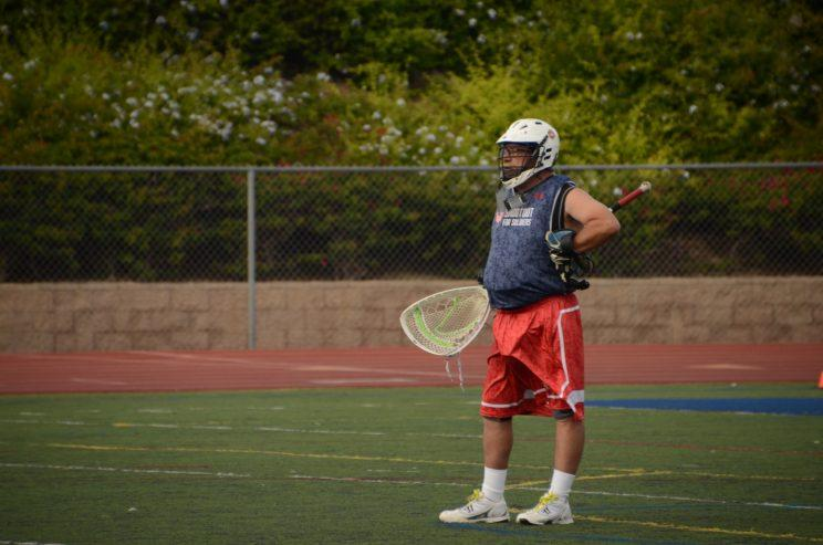 Carey Mangold retired from playing lacrosse last year, but had to put on the pads one more time to participate in Shootout for Soldiers. (Jackie Bamberger/Yahoo Sports)