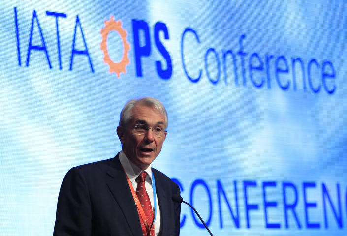Chief Executive and Director General of the International Air Transport Association (IATA) Tony Tyler speaks during the IATA Ops Conference in Kuala Lumpur, Malaysia, Tuesday, April 1, 2014. The IATA said the disappearance of a Malaysia Airlines plane highlights the need for security improvements both in tracking aircraft and screening passengers before they board planes. The 3-week hunt for Flight 370 has turned up no confirmed sign of the Boeing 777, which disappeared March 8 with 239 people on board bound for Beijing from Kuala Lumpur. (AP Photo/Lai Seng Sin)