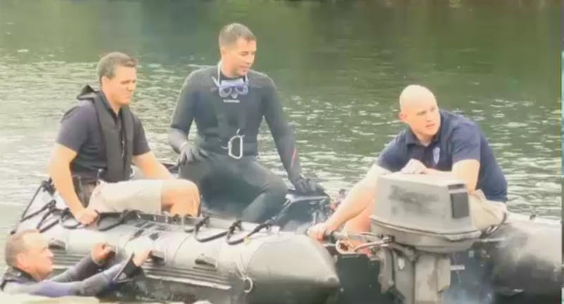 Police discover a body in Pawtuxet River in Rhode Island, during a training drill.