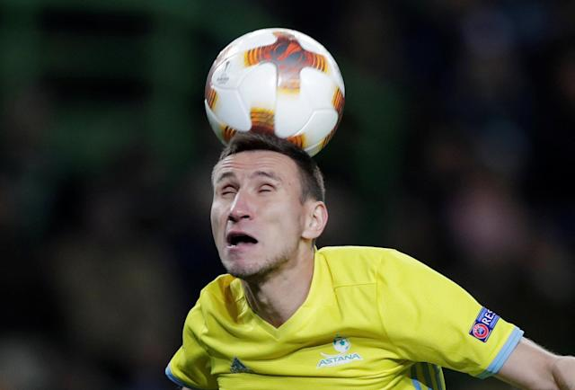 Soccer Football - Europa League Round of 32 Second Leg - Sporting CP vs Astana - Estadio Jose Alvalade, Lisbon, Portugal - February 22, 2018 Astana's Dmitri Shomko in action REUTERS/Rafael Marchante