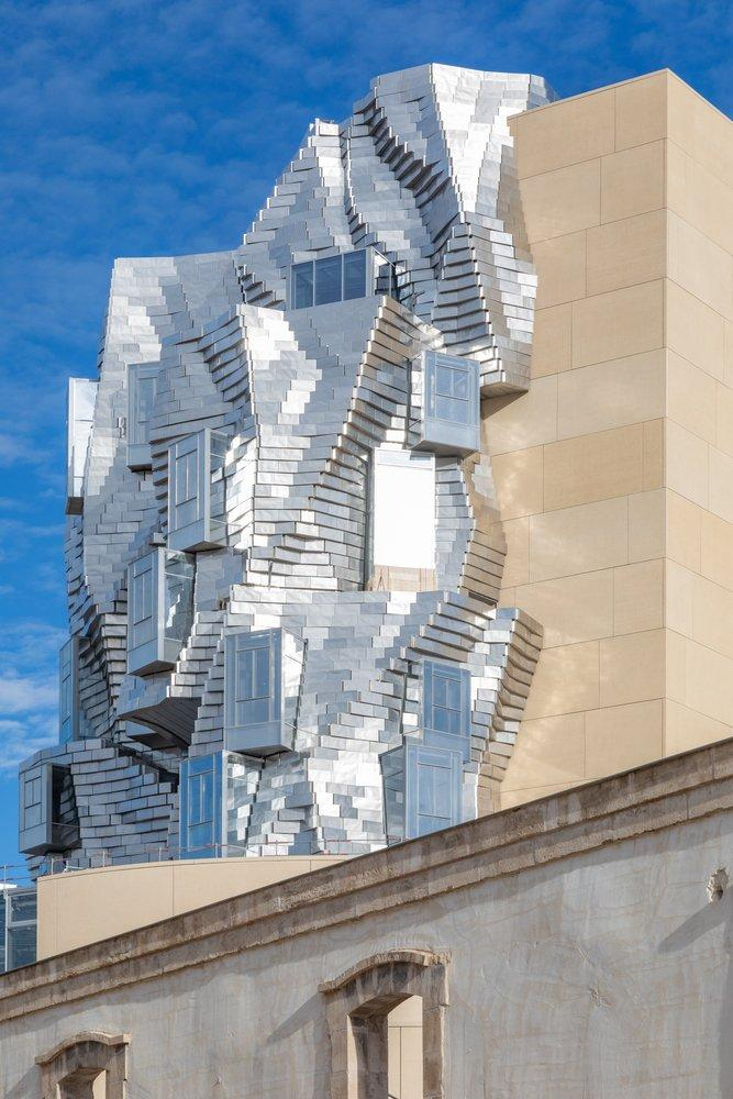 Only part of Gehry's new tower is wildly futuristic.