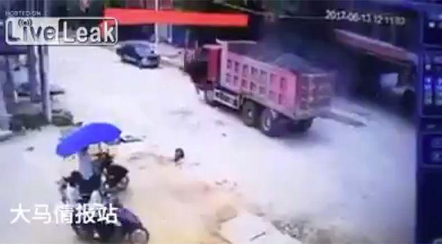 The driver hit the brakes after rolling over the boy. Source: LiveLeak