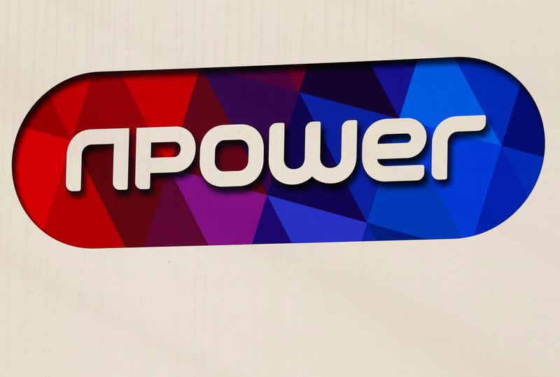A sign hangs outside an npower building in Solihull