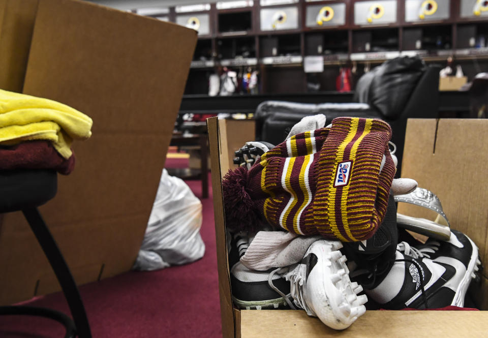 ASHBURN, VA - DECEMBER 30:  A player's equipment ready to be brought home after the end of the Washington Redskins' season on Monday, December 30, 2019.  (Photo by Toni L. Sandys/The Washington Post via Getty Images)