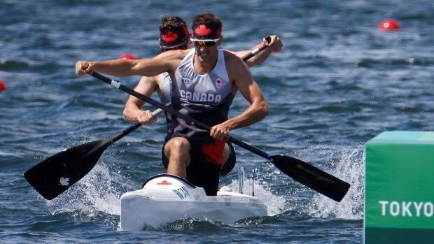 Canada's Roland Varga and Connor Fitzpatrick finished in sixth place in the men's C2, 1,000m final at the Tokyo 2020 Olympics. (Maxim Shemetov/Reuters - image credit)