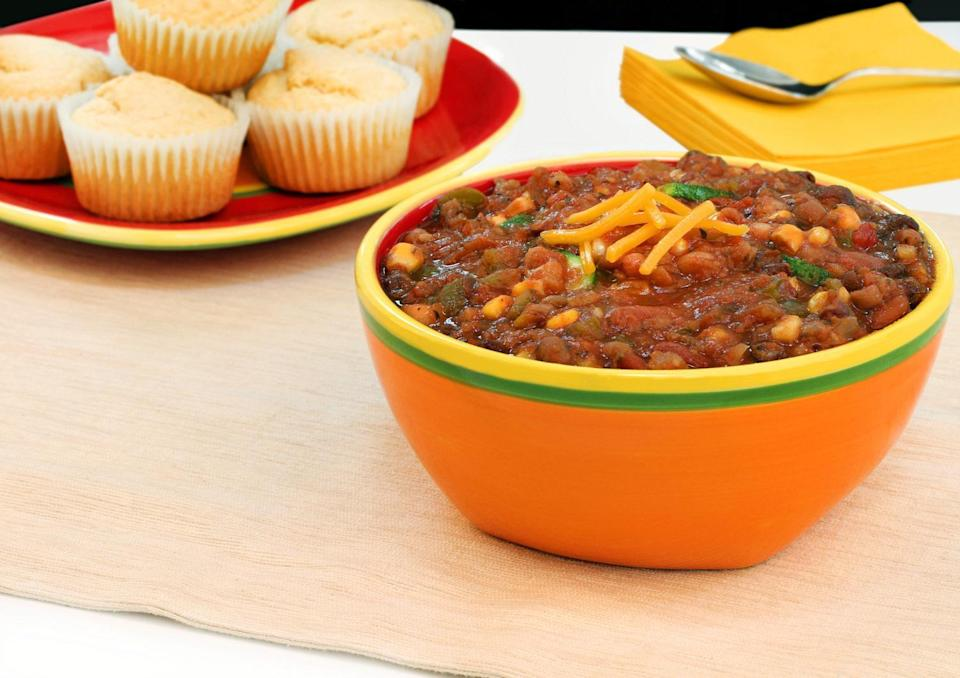 """<p>If you can't find fresh veggies at your store, try this vegetarian three-bean chili. It is one of those <a href=""""https://www.thedailymeal.com/cook/quick-dinner-dishes-you-can-make-out-cans-gallery?referrer=yahoo&category=beauty_food&include_utm=1&utm_medium=referral&utm_source=yahoo&utm_campaign=feed"""" rel=""""nofollow noopener"""" target=""""_blank"""" data-ylk=""""slk:delicious dinners that can be made almost entirely from canned food"""" class=""""link rapid-noclick-resp"""">delicious dinners that can be made almost entirely from canned food</a>.</p> <p><a href=""""https://www.thedailymeal.com/best-recipes/vegetarian-bean-chili?referrer=yahoo&category=beauty_food&include_utm=1&utm_medium=referral&utm_source=yahoo&utm_campaign=feed"""" rel=""""nofollow noopener"""" target=""""_blank"""" data-ylk=""""slk:For the Three-Bean Vegetarian Chili recipe, click here."""" class=""""link rapid-noclick-resp"""">For the Three-Bean Vegetarian Chili recipe, click here.</a></p>"""