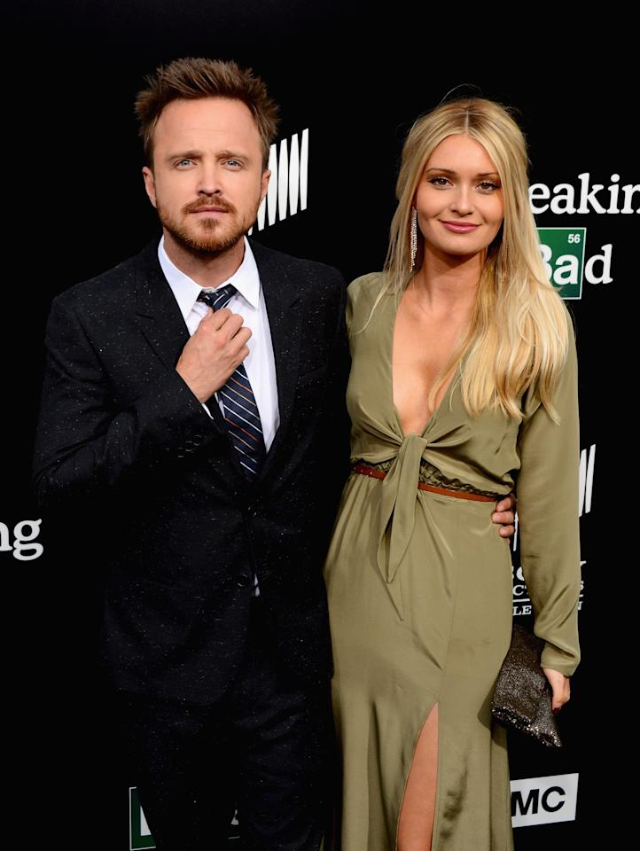 """CULVER CITY, CA - JULY 24: Actor Aaron Paul and Lauren Parsekian arrive as AMC Celebrates the final episodes of """"Breaking Bad"""" at Sony Pictures Studios on July 24, 2013 in Culver City, California. (Photo by Mark Davis/Getty Images)"""