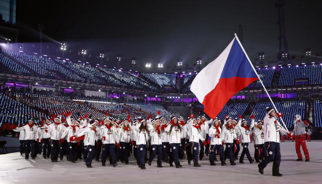 <p>Eva Samkova carries the flag of the Czech Republic during the opening ceremony of the 2018 Winter Olympics in Pyeongchang, South Korea, Friday, Feb. 9, 2018. (AP Photo/Jae C. Hong) </p>