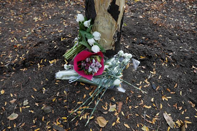 <p>Flowers are seen next to a damaged tree along a bike path to remember the victims of Tuesday's attack in New York City, in New York, Nov. 3, 2017. (Photo: Shannon Stapleton/Reuters) </p>