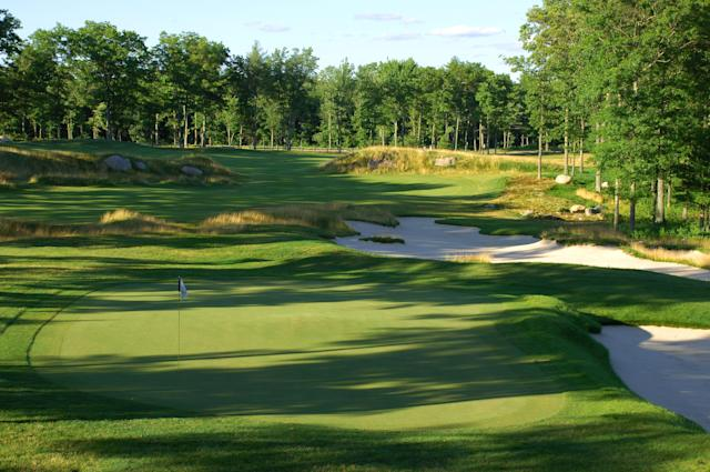 "<div class=""caption""> The 17th hole at TPC Boston. </div>"
