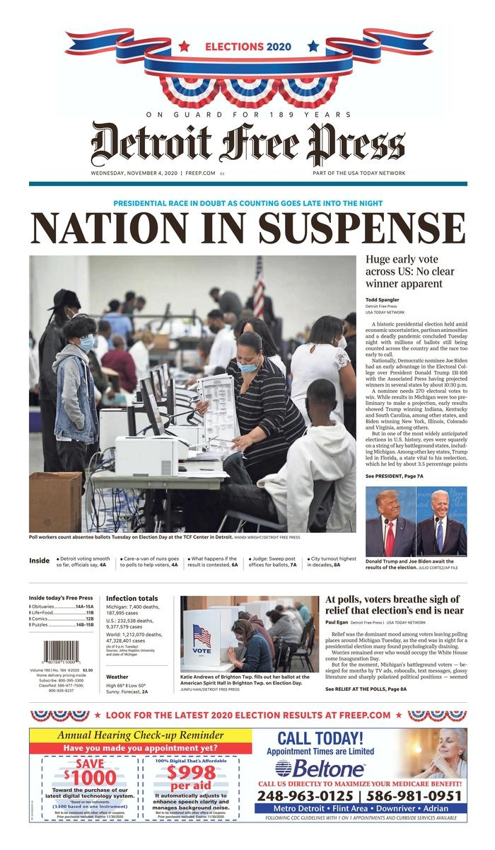 "DETROIT FREE PRESS, Published in Detroit, Mich. USA (Courtesy <a href=""https://www.newseum.org/todaysfrontpages/"" rel=""nofollow noopener"" target=""_blank"" data-ylk=""slk:Newseum"" class=""link rapid-noclick-resp"">Newseum</a>)"