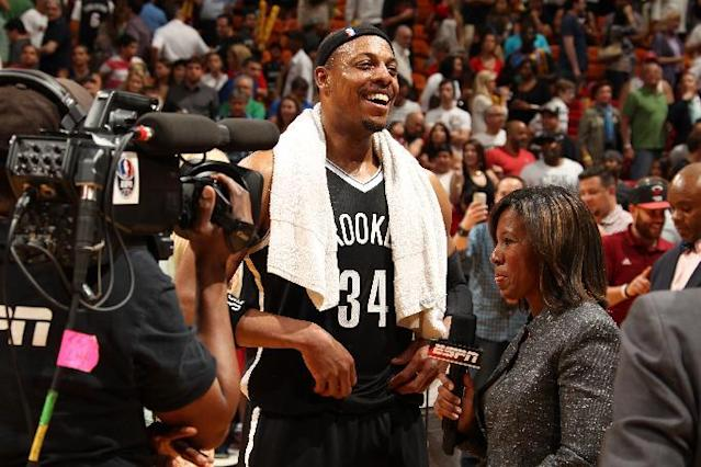 MIAMI, FL - March 12: Paul Pierce #34 of the Brooklyn Nets is interviewed after the game against the Miami Heat at the American Airlines Arena in Miami, Florida on March 12 2014. (Photo by Issac Baldizon/NBAE via Getty Images)