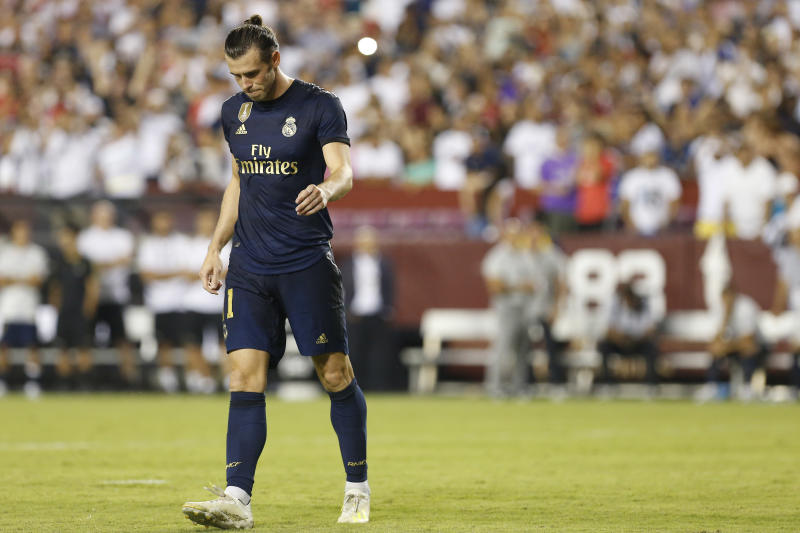 Jul 23, 2019; Landover, MD, USA; Real Madrid forward Gareth Bale (11) reacts after missing his penalty against Arsenal in the International Champions Cup soccer series at FedEx Field. Real Madrid won 2-2 (3-2 pen.). Mandatory Credit: Geoff Burke-USA TODAY Sports