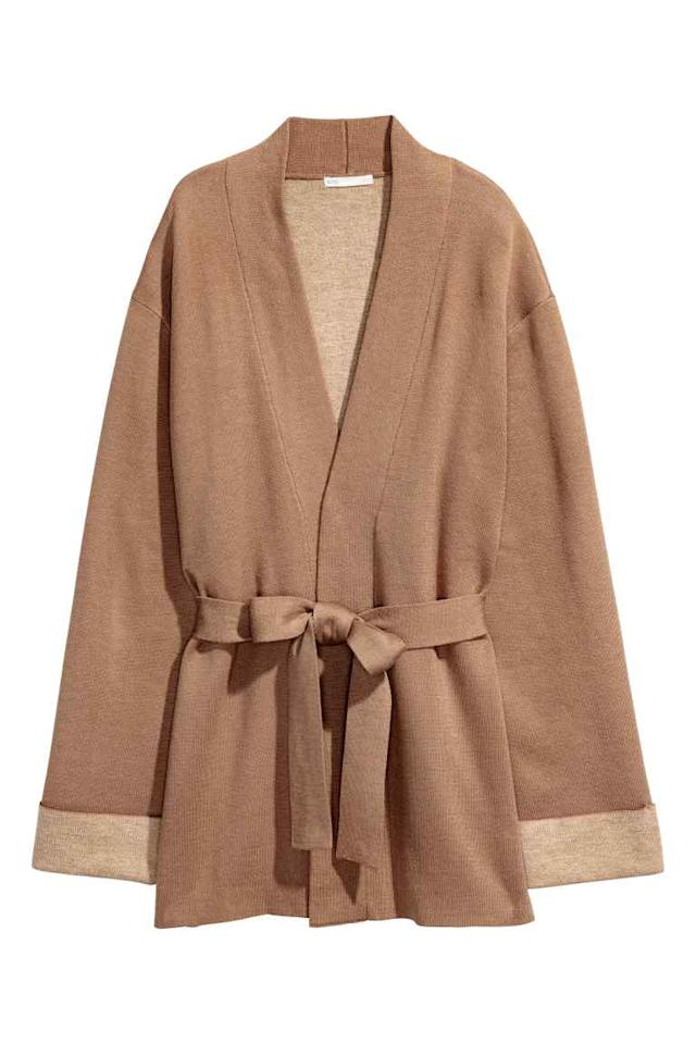 """<p>Look no further than H&M for the most covetable cardies of the season. We have a particular soft spot for this camel number complete with a tie-belt. What more could you possibly want? <em><a rel=""""nofollow"""" href=""""http://www2.hm.com/en_gb/productpage.0539241004.html"""">H&M</a>, £39.99</em> </p>"""