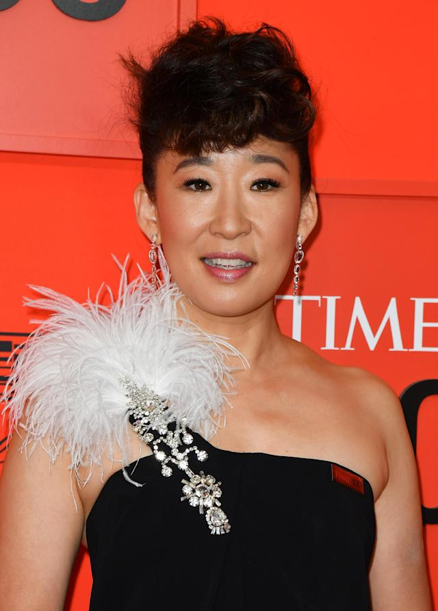 Sandra Oh arrives on the red carpet for the Time 100 Gala at the Lincoln Center in New York on April 23, 2019