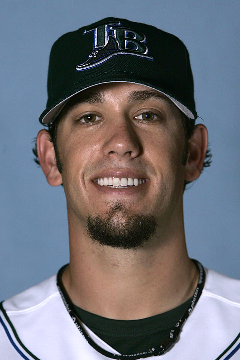 FILE-This is a 2007 file photo of James Shields of the Tampa Bay Devil Rays baseball team.  The Kansas City Royals have acquired starting pitchers Shields and Wade Davis from the Tampa Bay Rays for outfielder Wil Myers and a package of minor league prospects Sunday Dec. 9, 2012. (AP Photo/Al Behrman,File)