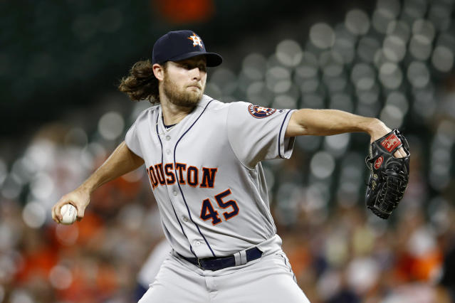 Houston Astros starting pitcher Gerrit Cole throws to the Baltimore Orioles in the first inning of a baseball game, Friday, Sept. 28, 2018, in Baltimore. (AP Photo/Patrick Semansky)