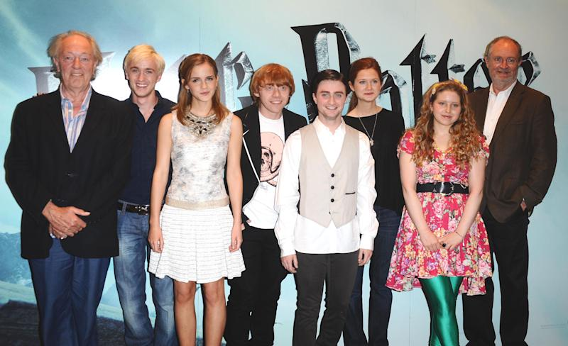 (from left to right) Michael Gambon, Tom Felton, Emma Watson, Rupert Grint, Daniel Radcliffe, Bonnie Wright, Jessie Cave and Jim Broadbent are seen at a photocall to launch the new film, Harry Potter and the Half-Blood Prince, at Claridges Hotel in central London.