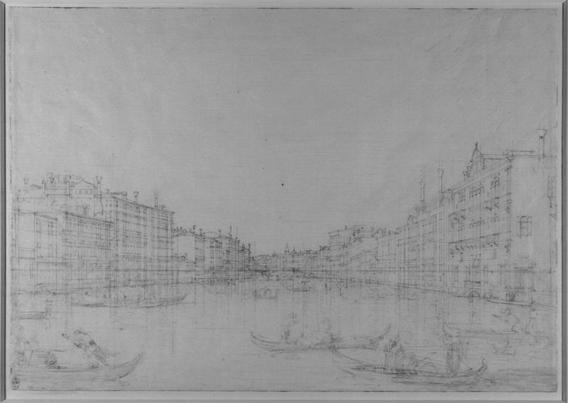 Infrared image of The central stretch of the Grand Canal c.1742 - Credit: Royal Collection Trust