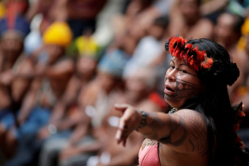 FILE PHOTO: Alessandra, indigenous woman of Munduruku tribe speaks during a press conference to ask authorities for protection for indigenous land and cultural rights in Brasilia
