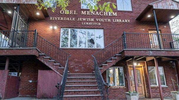 PHOTO: Windows were broken at the Ohel Menachem Riverdale Jewish Youth Library Lubavitch in Riverdale, N.Y., April 25, 2021. (Lev Radin/Pacific Press via Shutterstock)