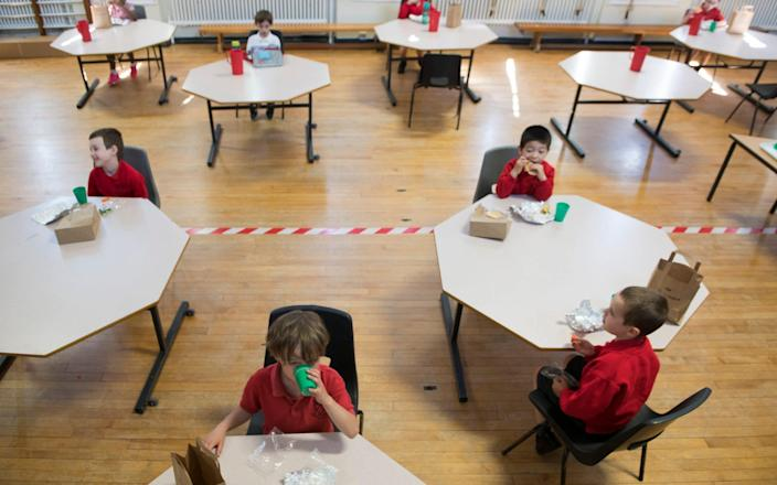 Children stop for a socially distanced lunch at St Alban's Catholic Primary School - David Rose