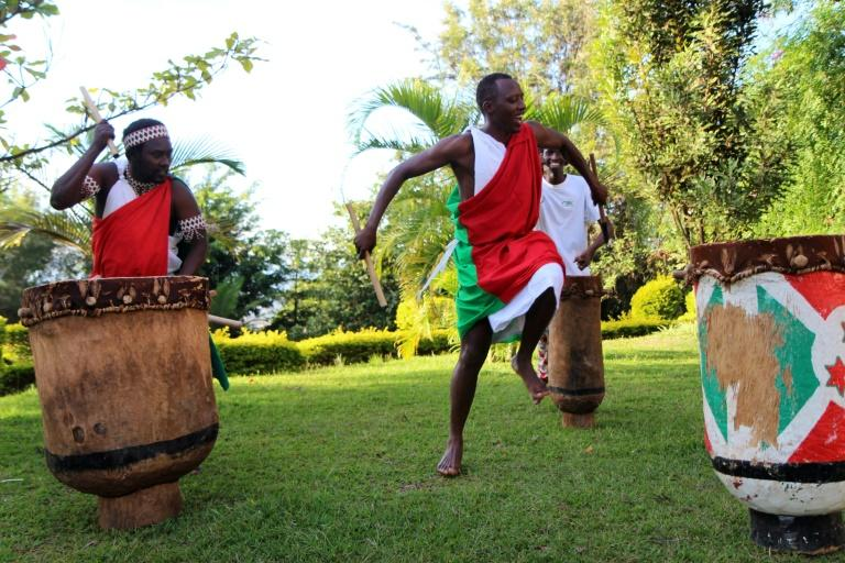 Traditional Burundian drummers, living in exile in Rwanda, pictured in Kigali on April 24, 2017