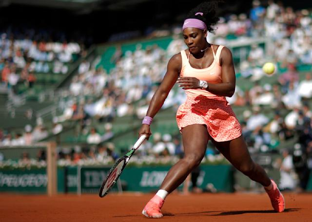 Serena Williams of the U.S. reacts during her women's semi-final match against Timea Bacsinszky of Switzerland at the French Open tennis tournament at the Roland Garros stadium in Paris, France, June 4, 2015. REUTERS/Gonzalo Fuentes