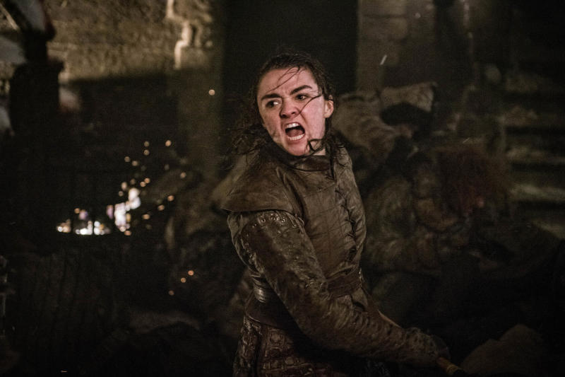 """This image released by HBO shows Maisie Williams as Arya Stark in a scene from """"Game of Thrones."""" It was neither Jon Snow nor Daenerys who won the climactic Battle of Winterfell on """"Game of Thrones."""" It was Arya Stark, who bravely launched herself at The Night King and stabbed the White Walker leader, ending his reign of terror and turning the Army of the Dead into frozen dust. (Helen Sloan/HBO via AP)"""