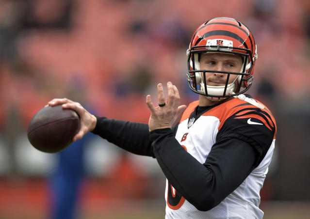 Cincinnati Bengals quarterback Jeff Driskel warms up before an NFL football game against the Cleveland Browns, Sunday, Dec. 23, 2018, in Cleveland. (AP Photo/David Richard)