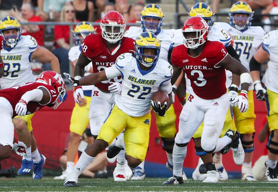 Delaware's Khory Spruill carries in the third quarter of Delaware's 45-13 loss at SHI Stadium in Piscataway, NJ, Saturday, Sept. 18, 2021.