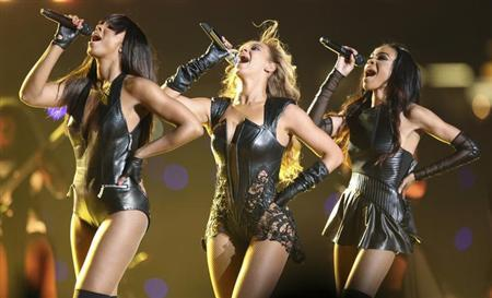 Beyonce (C) and Destiny's Child perform during the half-time show of the NFL Super Bowl XLVII football game in New Orleans, Louisiana, February 3, 2013. REUTERS/Sean Gardner