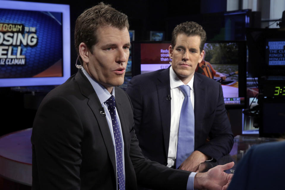 Tyler Winklevoss, left, and Cameron Winklevoss, founders of Gemini, appear on the 'Countdown to the Closing Bell with Liz Claman' on the Fox Business Network, in New York, US. Photo: Richard Drew/AP