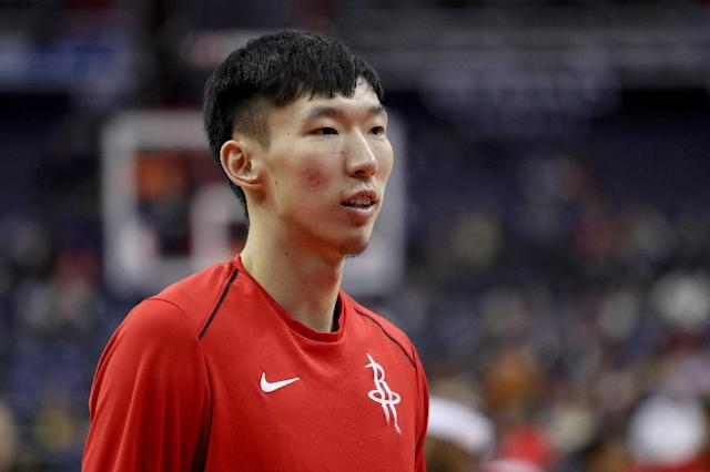 Zhou Qi, pictured February 2018, injured his left knee on October 9, 2018, in a pre-season game (AFP Photo/Rob Carr)