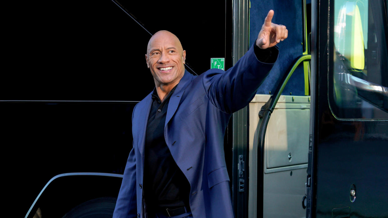 Dwayne Johnson plays himself running for president and looking back on his life in 'Young Rock'. (Frank Masi/NBC/Sky)
