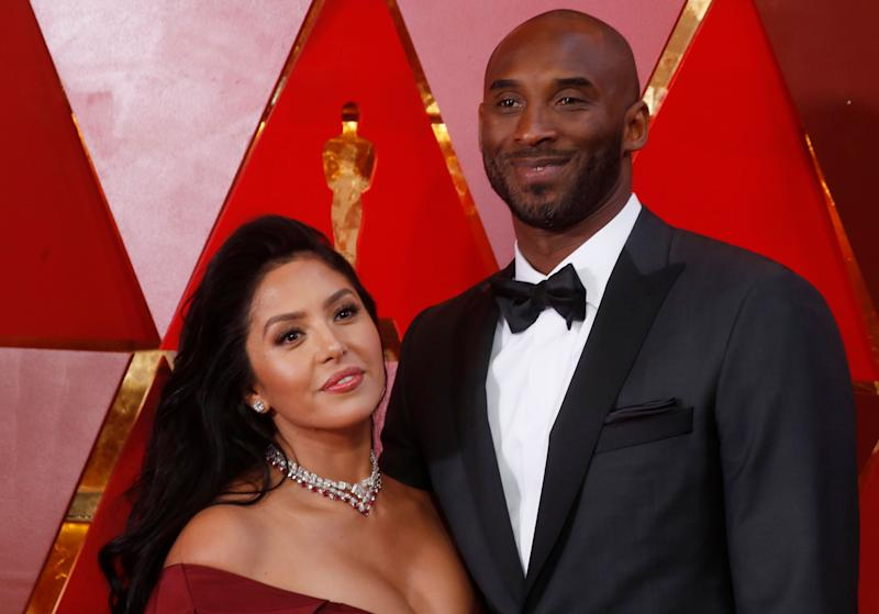 Kobe Bryant and Vanessa Laine Bryant arrive at the90th Academy Awards.