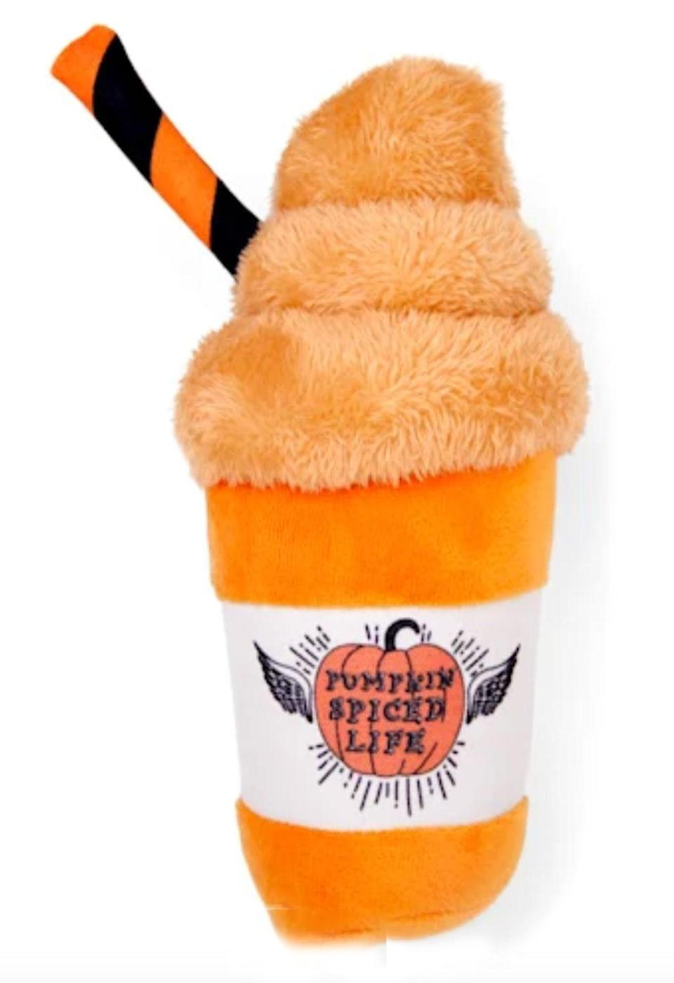 """<p>Dogs can always be a paw's reach away from a pumpkin spice latte with this seasonal toy. </p> <p><strong>Buy it!</strong> Bootique Pumpkin Spice Fiend Plush Dog Toy, $9.99; <a href=""""https://www.anrdoezrs.net/links/8029122/type/dlg/sid/PEO12GiftsforDogOwnersObsessedwithPumpkinSpiceandPoocheskbender1271PetGal12897998202109I/https://www.petco.com/shop/en/petcostore/product/bootique-pumpkin-spice-fiend-plush-dog-toy"""" rel=""""sponsored noopener"""" target=""""_blank"""" data-ylk=""""slk:Petco.com"""" class=""""link rapid-noclick-resp"""">Petco.com</a></p>"""