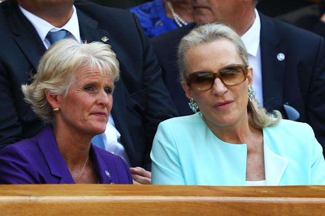 LONDON, ENGLAND - JULY 07: Princess Michael of Kent and Gill Brook attend the Gentlemen's Singles Final match between Andy Murray of Great Britain and Novak Djokovic of Serbia on day thirteen of the Wimbledon Lawn Tennis Championships at the All England Lawn Tennis and Croquet Club on July 7, 2013 in London, England. (Photo by Clive Brunskill/Getty Images)