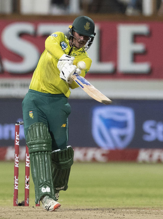 South Africa's captain Quinton de Kock plays a shot during the 2nd T20 cricket match between South Africa and England at Kingsmead stadium in Durban, South Africa, Friday, Feb. 14, 2020. (AP Photo/Themba Hadebe)